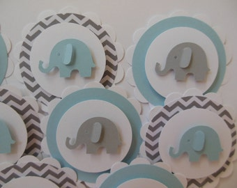 Elephant Cupcake Toppers - Blue, Gray and White - Gray Chevron - Boy Baby Showers - Boy Birthday Parties - Set of 12