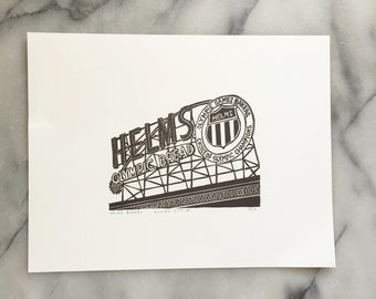 Helms Bakery, Unframed Letterpress Print