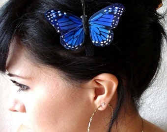 butterfly hair clip - blue butterfly accessory - butterfly headpiece - hair accessories for women - women's accessory - women's gift - FAITH