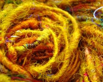 Golden Yellow Handspun Recycled Sari Silk Yarn, Chunky/Bulky, Fluffy/Eyelash Yarn Pure Silk Eco Yarn 'Amber' 100g approx 70yards/65metres