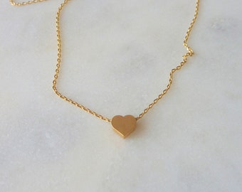 Tiny Gold Heart Necklace. modern necklace. delicate necklace. dainty necklace. layering necklace. gift for her. valentines day.