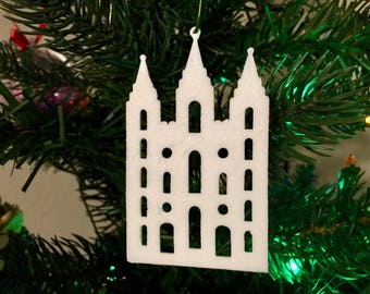 Salt Lake City Temple Shape Tree Ornament 3D-Printed