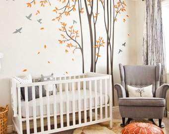 "Tree Wall Decals Baby Nursery Birch Tree Decal Sticker Long Skinny Trees Wall Art Tree Wall Decal Vinyl Mural -Large: approx 95"" x 89"" KC047"