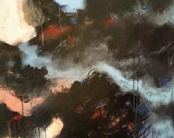 Black/blue abstract painting