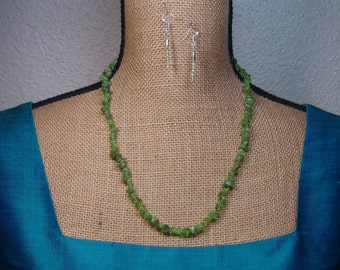 Natural Earth Mined 156.00 Carats Peridot Gemstone Chips, 925 Silver Necklace and Earrings