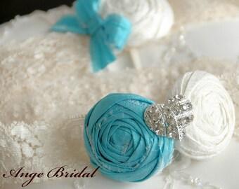 SILK Aqua wedding garters with Heart rhinestone/Something Blue/ Wedding Garter/ Garter Set/ Bridal Garter/ Vintage Garter