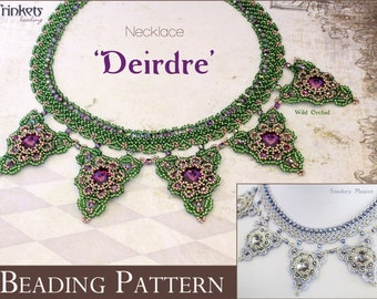 Tutorial for beadwoven necklace 'Deirdre' - PDF beading pattern - DIY