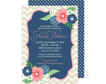 Floral Baby or Bridal Shower Invitation 5x7 Customized | Chevron | Flower Bouquet