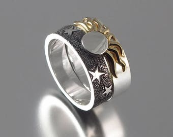 SOLAR ECLIPSE Sun and Moon Engagement Ring and Wedding Band in silver and 14k gold