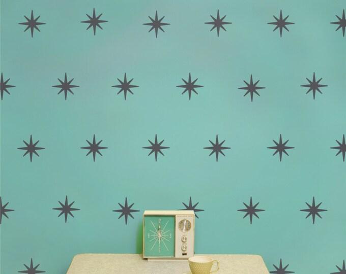 starburst mid century wall decal pattern set