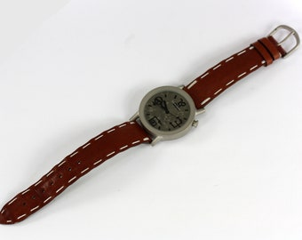 TAM TIME In The World - Vintage Soft Brown Leather Watch Tribal Numbers Dial Made in France