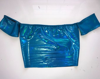 Electric blue holographic top, off the shoulder tube top, rave top, holographic top, rave oitfit, edc outfit, holographic clothing