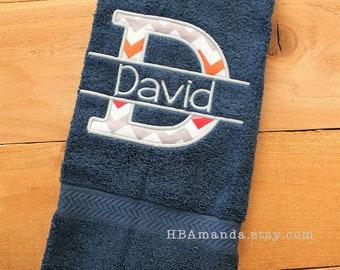 Initial Applique Letter + Last Name Monogram Hand Towel  - Alpha Split Applique letter - Choose thread colors + Choose Chevron fabric