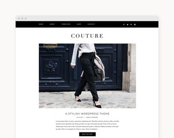 "NEW Wordpress Theme - Wordpress Fashion Theme - Genesis Theme - Stylish Blogger Theme - ""Couture"" Instant Digital Download"