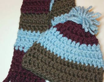 Taupe Blue and Plum Striped Crocheted Beanie and Scarf Set