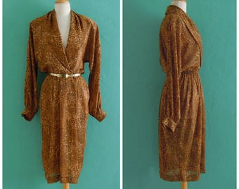 vintage 80's animal print dress // plunging neck secretary dress