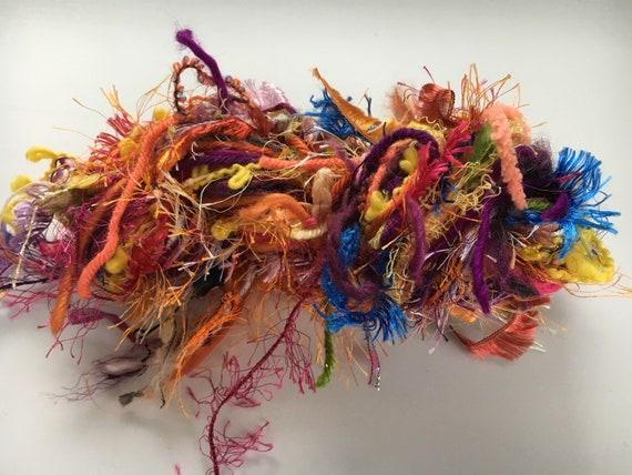 Hand Tied Art Yarn, Diva Skein, Custom Blend Scarf Skein Tied Yarn, 45 yards mixed fiber hand-tied novelty worsted yarn, fiber pack, crafts