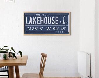 Lake House Print - Family Name Print - Coordinates - Latitude Longitude - Last Name Wall Print - Lake House Decor - Lake Custom Print