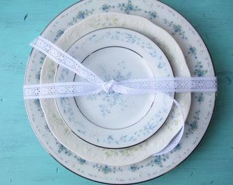 Vintage Mismatched Blue Plate Special Set of Three - Weddings Bridal