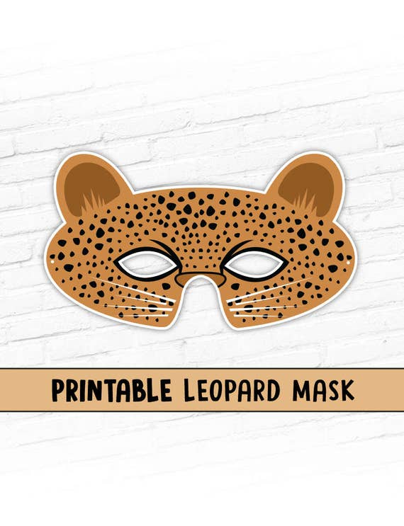 Leopard Printable Mask Kids Party Halloween Costume Mask