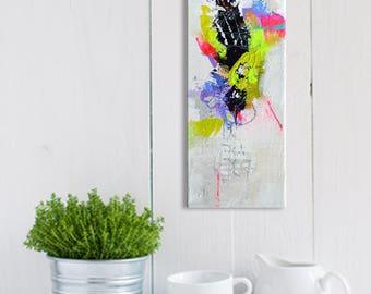 Originele kleine abstract schilderij op doek, mini Acryl schilderij, moderne kunstwerken van gespannen doek, kleurrijk schilderij, smalle veelkleurige