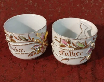 Matching Floral Mother and Father Mugs, Mustache Mug