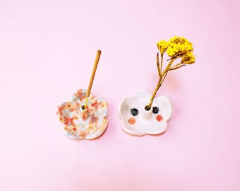 Kawai Flower Incense Holder Ceramic, Flower Holder Hand-Built Ceramic Floral