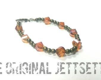 Orange Bracelet - Antiqued Brass Bracelet - Beaded Bracelet