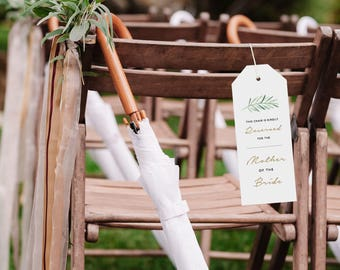 Reserved Wedding Ceremony Seating Tag, Reserved Chair Tags, Wedding Ceremony Reserved Seat Sign, Wedding Chair Tag Template - KPC09_406