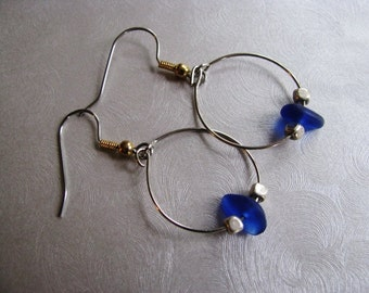 Cobalt Blue Sea Glass - Beach Glass Earrings - Hoop Earrings