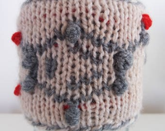 Adrenaline Cup Cozy, Knitted Cup Sleeve, Coffee, Mug Warmer, Eco-friendly, Molecular Structure, Science Gift, Chemistry Gift, Ball-And-Stick
