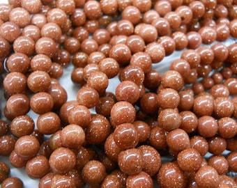 8mm sandstone round beads, goldstone beads, 15.5 inch