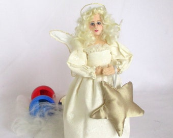 Angel Christmas Tree Topper art cloth doll Christmas tree ornament gold star Gift for her