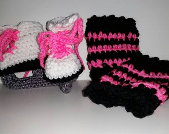 Ice Skate Booties, with legwarmers, Ice Skate baby