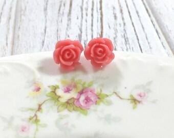 Pretty Pink Flower Studs, Little Pink Flower Studs, Small Pink Flower Studs, Pink Flower Earrings, Lovely Flower Earring, Pink Jewelry (HJ4)