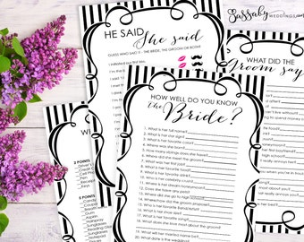 Bridal Shower Games Pack - INSTANT DOWNLOAD - Printable Black & White Wedding Shower Party Game Set, by Sassaby Weddings