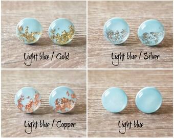 Pale blue earrings, Light blue stud earrings, Lovely earrings blue, Christmas gift under 10, Something blue for bride, Baby blue earrings