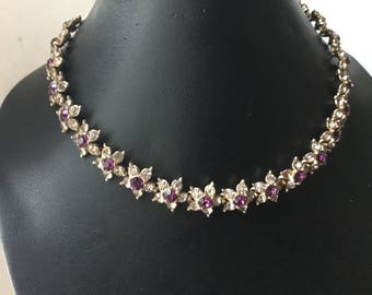 Dark Purple Rhinestones, Sparkly Flower Clusters, Vintage Necklace