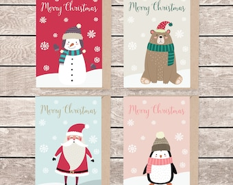 A6 christmas card set, set of 12, A6 christmas card, A6 greeting card, illustrated christmas card, blank christmas card, card and envelope