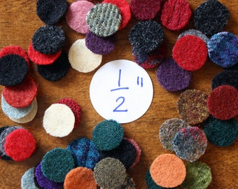 Wool Circles -- 50 - 1/2-inch Wool Circles -- Precut Recycled and Felted Wool Circles -- Wool Pennies