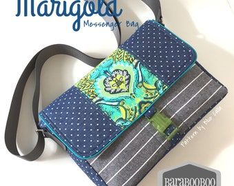 Marigold Messenger Bag in Nutmeg Linen blend and Tula Pink Chipper Fox Nap, purse, bag, Cross Body