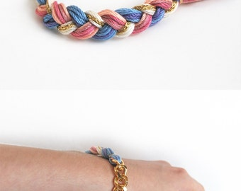 Braided bracelet with chunky chain in pink and blue, cute hippie bracelet, chunky chain bracelet
