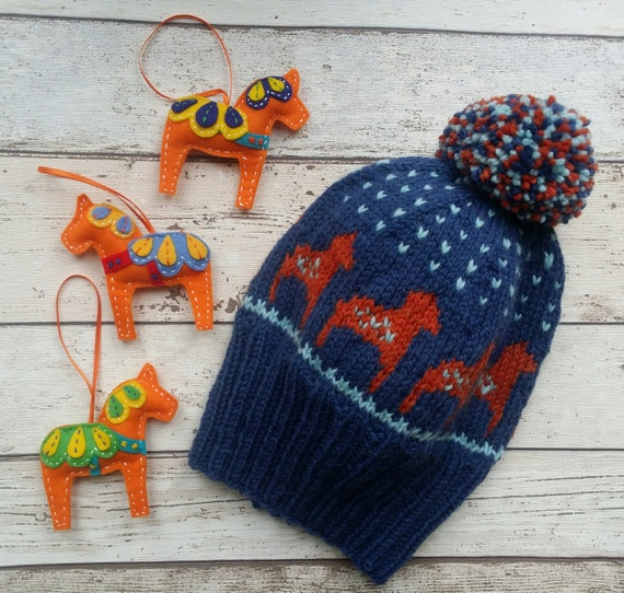 Knitting Pattern Dala Horse Knitted Hat Ski Hat Bobble