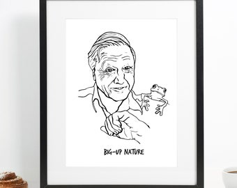 David Attenborough 'Atten-Brother' Illustration art poster print A3