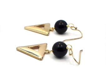 Gold Triangle Earrings, Geometric Dangle Drop Earrings, Statement Earrings, Gold Earrings, Gift for Girlfriend, Valentine Gift For Her