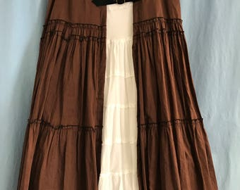 Upcycled Steampunk Skirt-Tiered Brown Skirt-Brass Buckles and Handcrafted Tabs from Upcycled Leather-Cosplay-Steampunk-Pirate (Sz M-L)