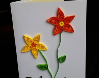 Beautiful Quilled Flower Thank You Card