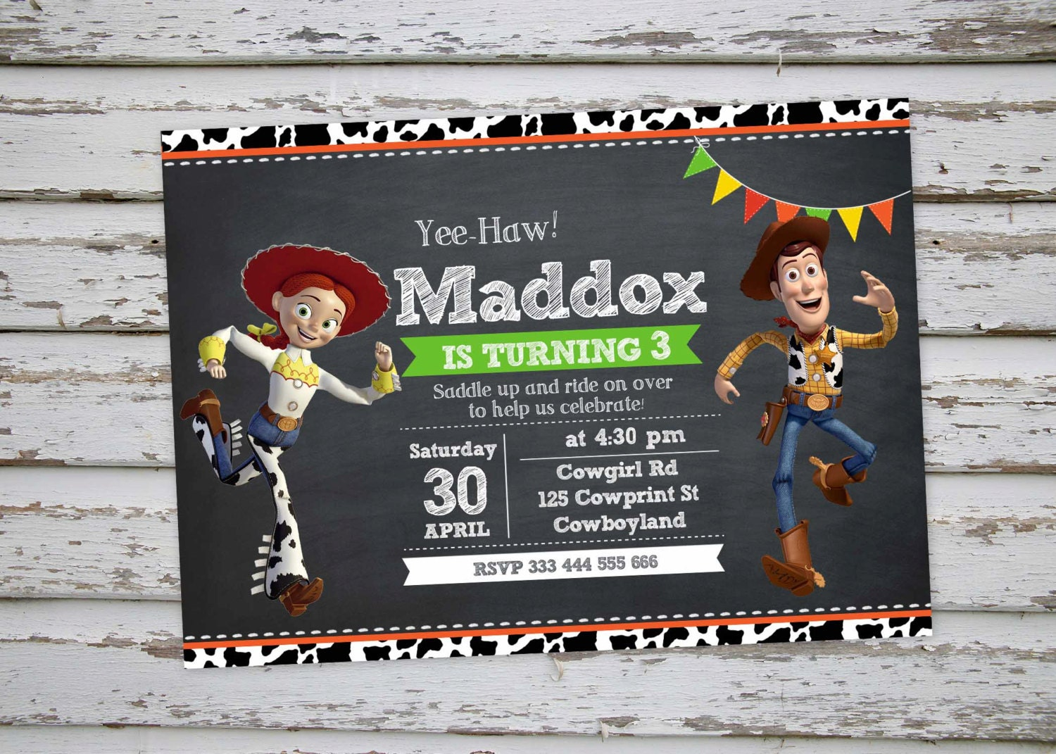 Woody and Jessie Toy Story Birthday Party Invitation Cowboy
