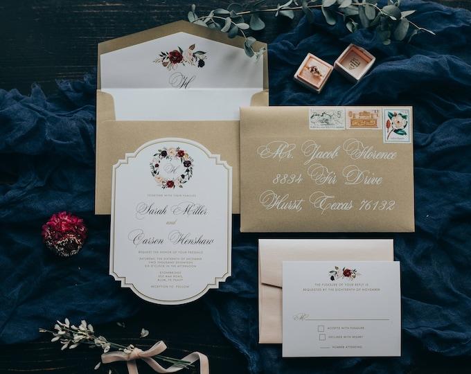 Die Cut Metallic Gold Ink Floral Flowers Wedding Invitation in Coral Blush Pink & Burgundy Marsala Wine Sangria w/Liner and Address Printing