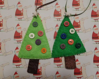 Set of Two Felt Christmas Tree Ornaments by Pepperland